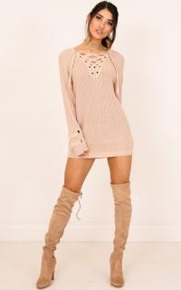 Loving Me Knit Dress In Beige