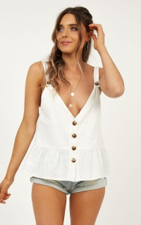 Magic Spell Top In White Linen Look