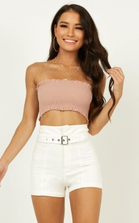 Mind Maze Denim Shorts In White