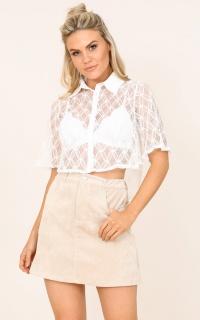 No Drama Shirt In White Crochet