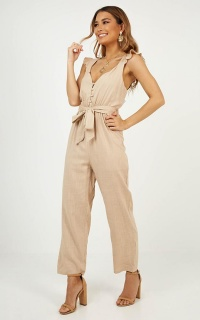 Palm Springs Jumpsuit In Beige Linen Look