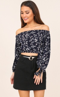 Perfect Places top in navy floral