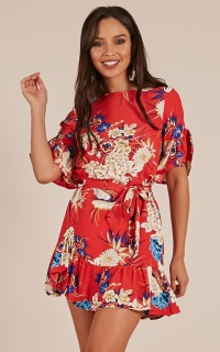 Power Move Dress in red floral