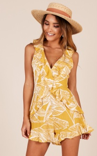 Proud To Be playsuit in mustard print