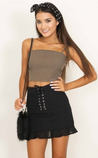 Bandoo crop top in khaki