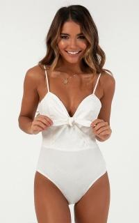 Quick View Bodysuit In White Linen Look