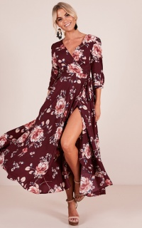 Retro Romance maxi dress in wine floral