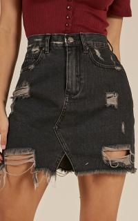 Drifted Apart denim skirt in Black Wash