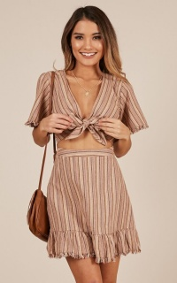 The Fire Dress In Tan Stripe Linen Look