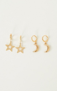 Celestial Babe Earrings Set In Gold