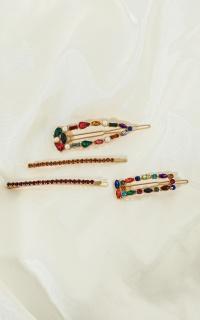 Festival Lights Jewel Hair Clip Pack In Multi