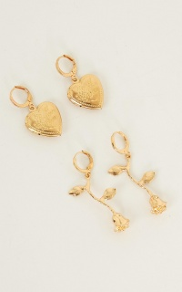 Look In Your Heart Earrings Set In Gold