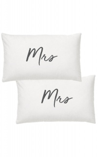 Mrs & Mrs Pillow Case Set In White