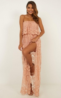 Walk The Line Maxi Playsuit In Blush Lace