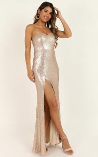Shimmer Shimmer Dress In Champagne Sequin