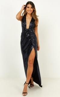 Shine A Light Dress In Navy Sequin