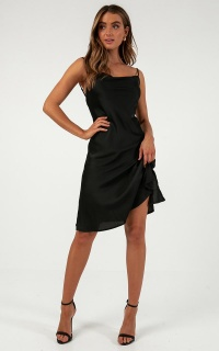 Shine Up Midi Dress In Black Satin