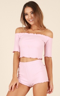 Slumber Party Two Piece Set in Blush