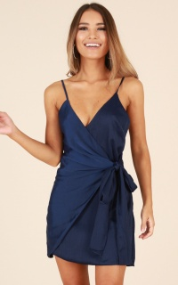Someone New Dress In Navy Satin