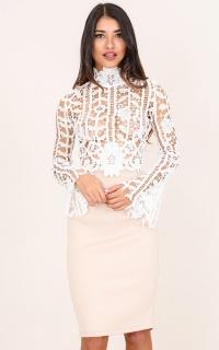 Speak Slowly Top In White Crochet