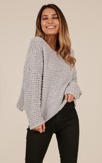 Still Kicking Velvet Knit Sweater In Grey