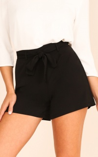 String Along Shorts In Black