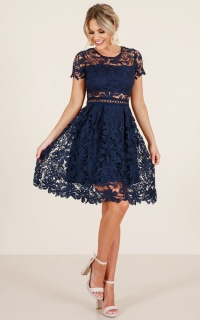 Sunday Love dress in navy crochet