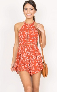 Sweet Accent Playsuit In Red Print