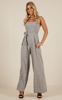 Thinking Of Tomorrow Jumpsuit In Grey Check