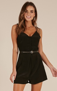 Leave It To Me playsuit in black