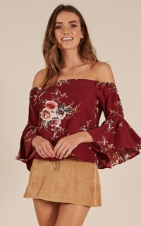 In The Clouds Top in Wine Floral