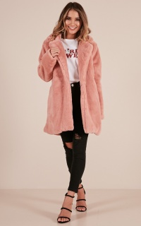 End Of Time Fur Coat In Blush
