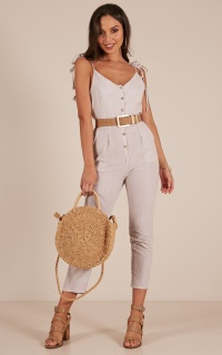 Spring Forward Jumpsuit In Beige