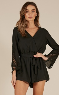 Find your way playsuit in black