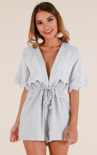 Maple Leaves Playsuit In Blue Embroidery