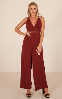 Truth Or Dare Jumpsuit In Wine