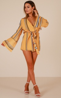 Easy Does It playsuit in yellow stripe