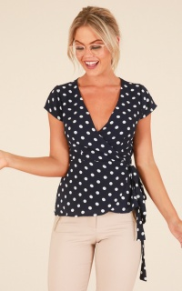 Back In Action top in navy polkadot