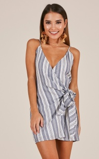 Aquarius dress in navy stripe