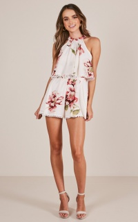 Day Rhythm playsuit in white floral