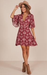 Beginners Luck dress in wine paisley print