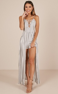 Fight For Love Playsuit In White Stripe