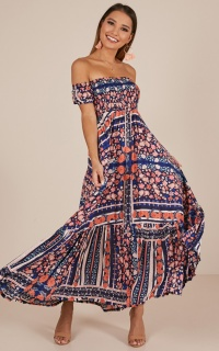 Catch My Breath maxi dress in navy floral
