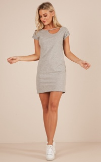 Check With Me dress in grey marle
