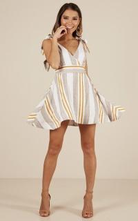 Monroe dress in white stripe