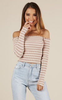 All I See Knit Top In Mocha Stripe