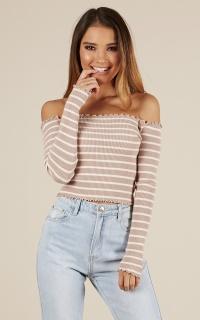 All I See knit top in mocha stripe