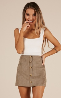 Confide In Me skirt in khaki suedette