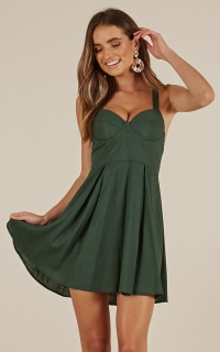 Moved On Dress In Green Linen Look