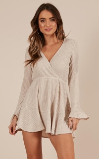 The Next Step Dress in beige marl